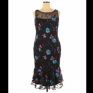 Calvin Klein Embroidered Black Floral Formal Dress